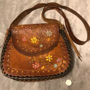 Vintage Tooled Brown Leather Floral Braided Bag
